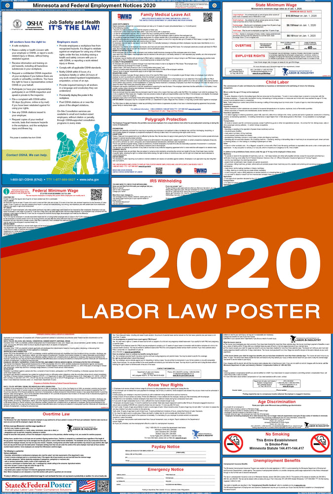 Minnesota State and Federal Labor Law Poster 2020 - State and Federal Poster