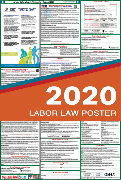 Minnesota State and Federal Labor Law Poster 2020 (SPANISH) - State and Federal Poster