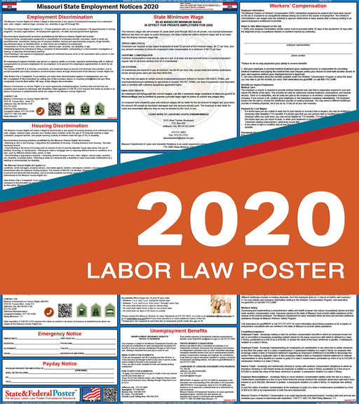 Missouri State Labor Law Poster 2020 - State and Federal Poster