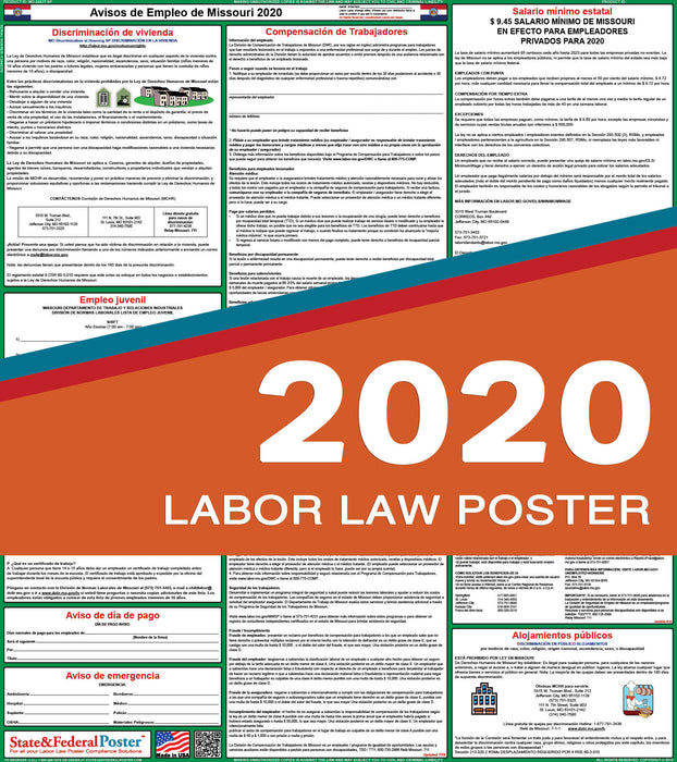 Missouri State Labor Law Poster 2020 (SPANISH) - State and Federal Poster