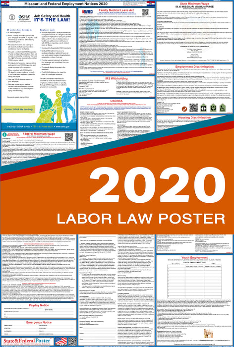 Missouri State and Federal Labor Law Poster 2020 - State and Federal Poster