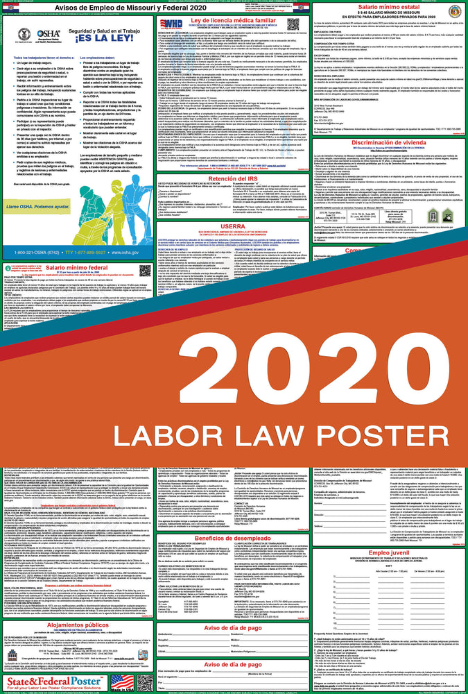Missouri State and Federal Labor Law Poster 2020 (SPANISH) - State and Federal Poster
