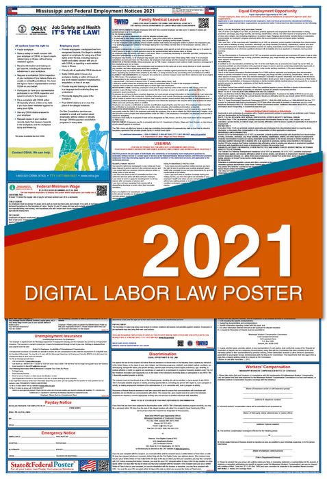 Digital Mississippi State and Federal Labor Law Poster 2021