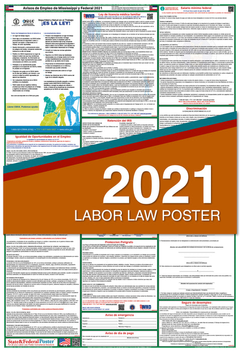 Mississippi State and Federal Labor Law Poster 2021 (SPANISH)
