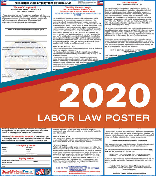 Mississippi State Labor Law Poster 2020 - State and Federal Poster