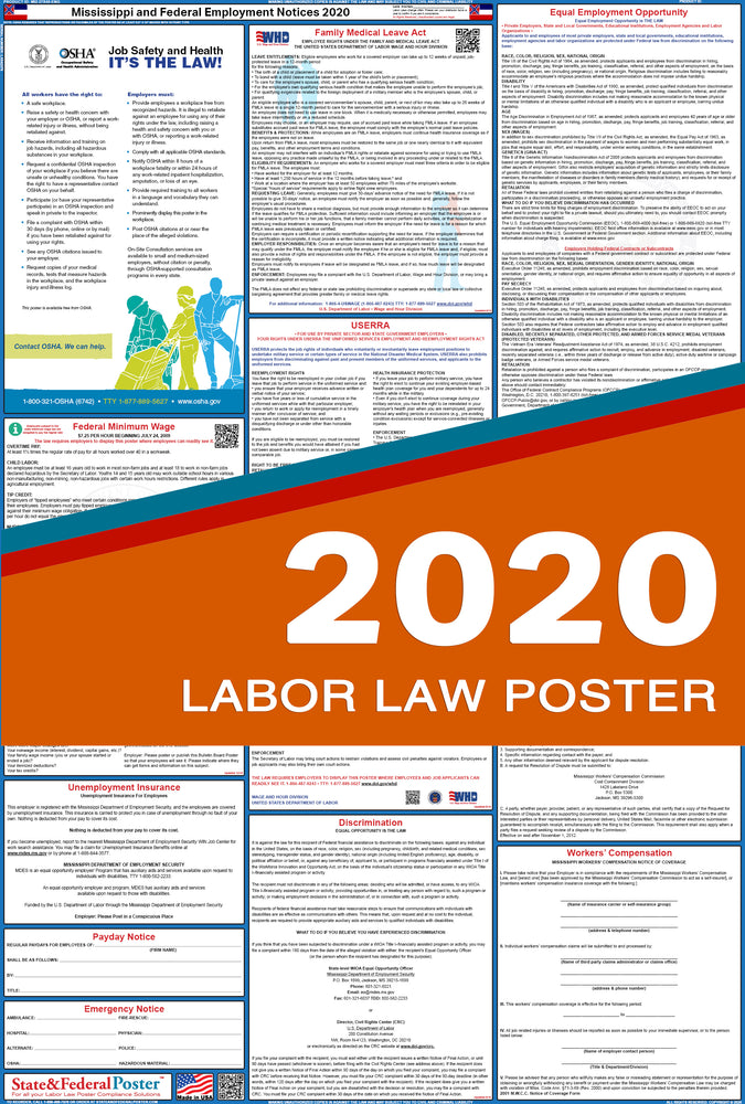 Mississippi State and Federal Labor Law Poster 2020 - State and Federal Poster