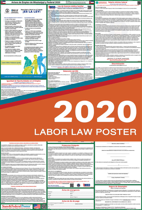 Mississippi State and Federal Labor Law Poster 2020 (SPANISH) - State and Federal Poster