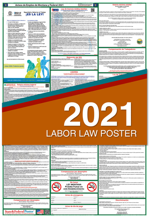 Montana State and Federal Labor Law Poster 2021 (SPANISH)