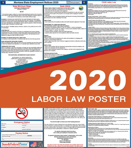 Montana State Labor Law Poster 2020 - State and Federal Poster