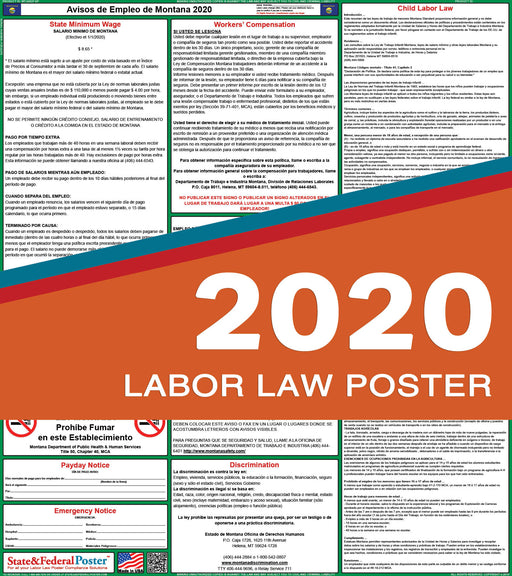 Montana State Labor Law Poster 2020 (SPANISH) - State and Federal Poster