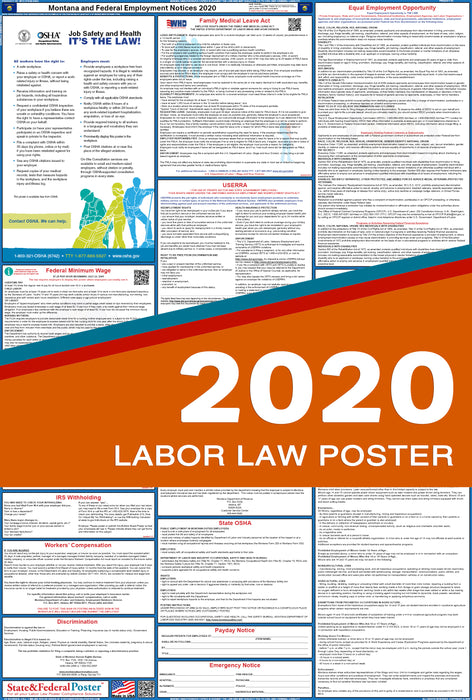 Montana State and Federal Labor Law Poster 2020 - State and Federal Poster