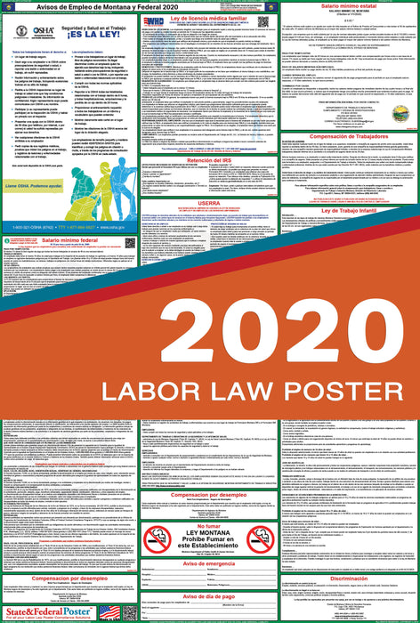 Montana State and Federal Labor Law Poster 2020 (SPANISH) - State and Federal Poster