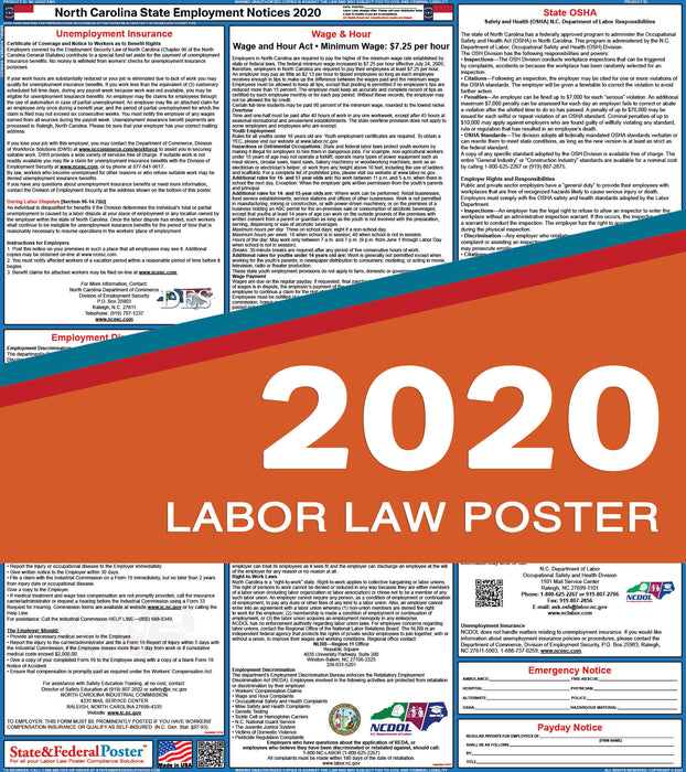 North Carolina State Labor Law Poster 2020 - State and Federal Poster