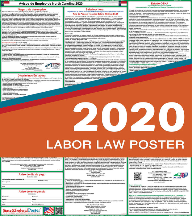 North Carolina State Labor Law Poster 2020 (SPANISH) - State and Federal Poster