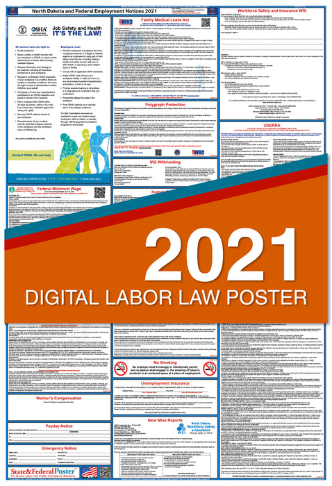 PREORDER - North Dakota State and Federal Labor Law Poster 2021