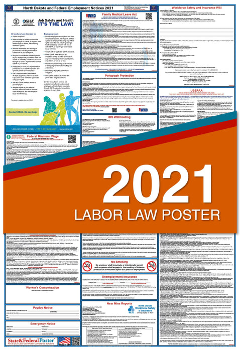 North Dakota State and Federal Labor Law Poster 2021