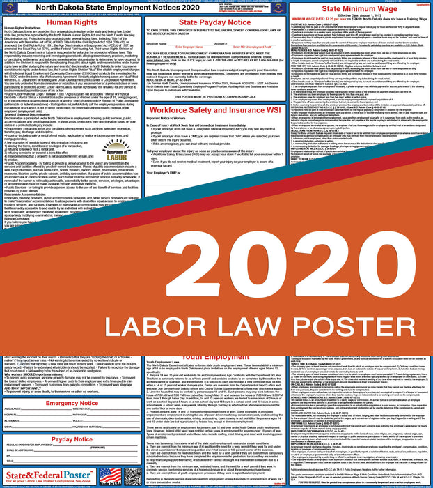 North Dakota State Labor Law Poster 2020 - State and Federal Poster