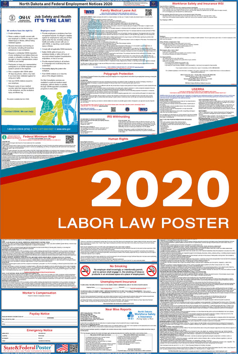 North Dakota State and Federal Labor Law Poster 2020 - State and Federal Poster