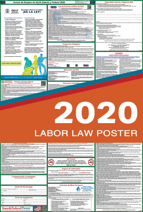 North Dakota State and Federal Labor Law Poster 2020 (SPANISH) - State and Federal Poster