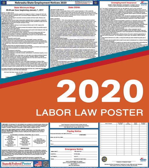 Nebraska State Labor Law Poster 2020 - State and Federal Poster