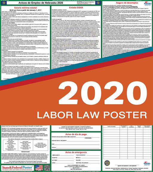 Nebraska State Labor Law Poster 2020 (SPANISH) - State and Federal Poster