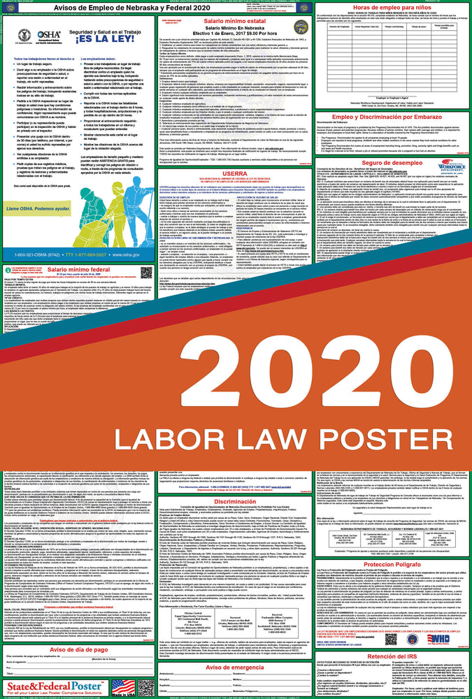 Nebraska State and Federal Labor Law Poster 2020 (SPANISH) - State and Federal Poster
