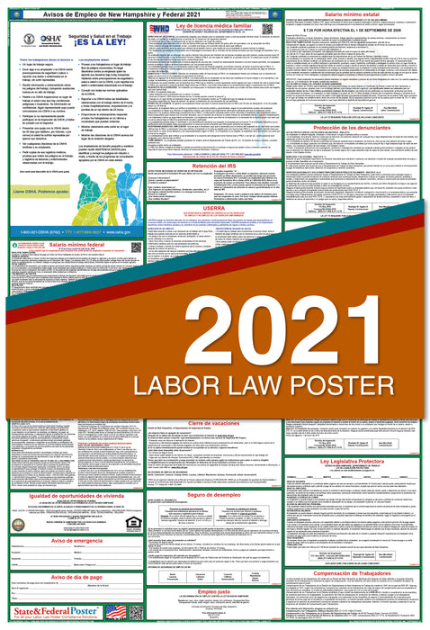 New Hampshire State and Federal Labor Law Poster 2021 (SPANISH)