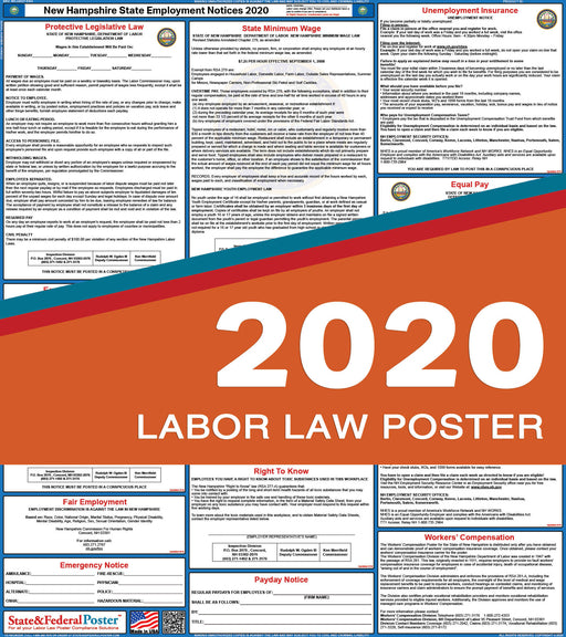 New Hampshire State Labor Law Poster 2020 - State and Federal Poster