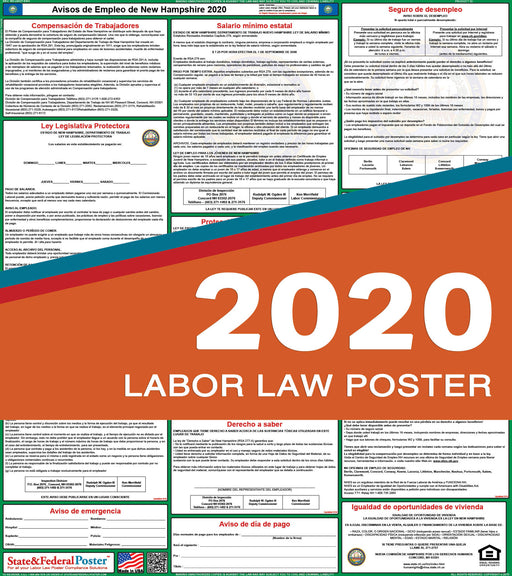 New Hampshire State Labor Law Poster 2020 (SPANISH) - State and Federal Poster