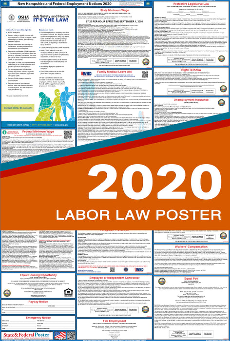 New Hampshire State and Federal Labor Law Poster 2020 - State and Federal Poster