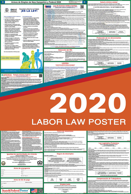 New Hampshire State and Federal Labor Law Poster 2020 (SPANISH) - State and Federal Poster