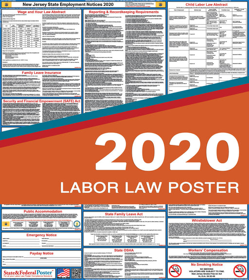 New Jersey State Labor Law Poster 2020 - State and Federal Poster