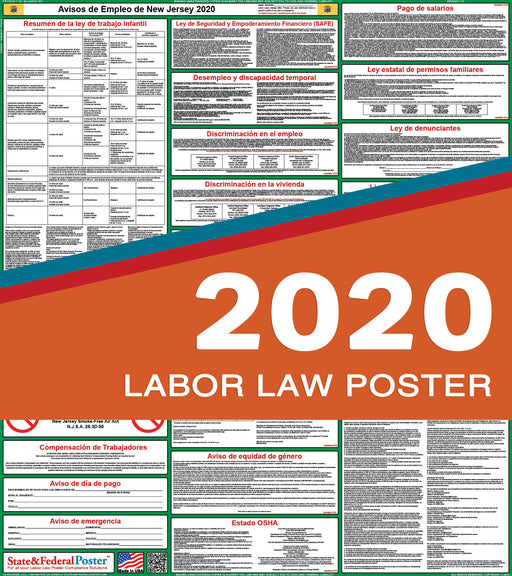 New Jersey State Labor Law Poster 2020 (SPANISH) - State and Federal Poster