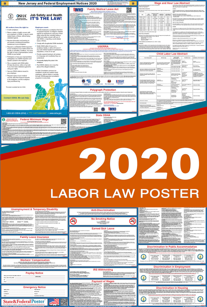 New Jersey State and Federal Labor Law Poster 2020 - State and Federal Poster