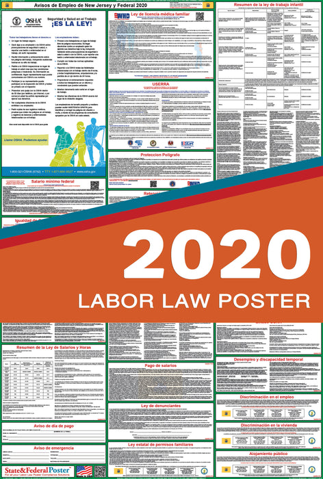 New Jersey State and Federal Labor Law Poster 2020 (SPANISH) - State and Federal Poster