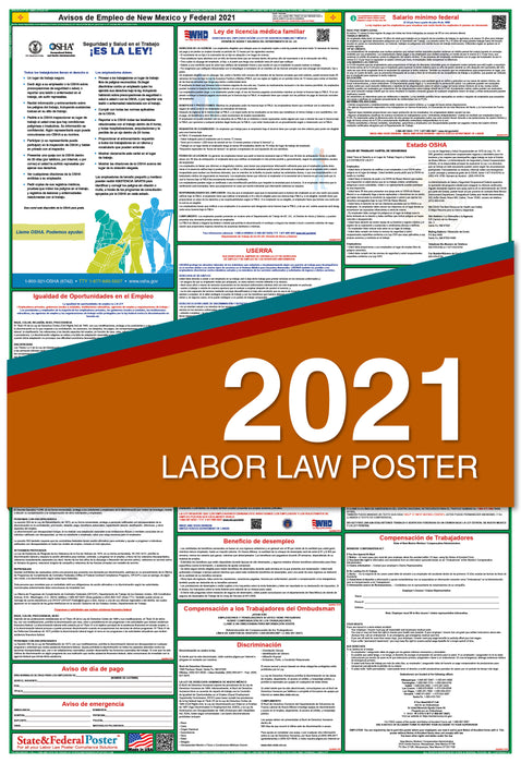 New Mexico State and Federal Labor Law Poster 2021 (SPANISH)