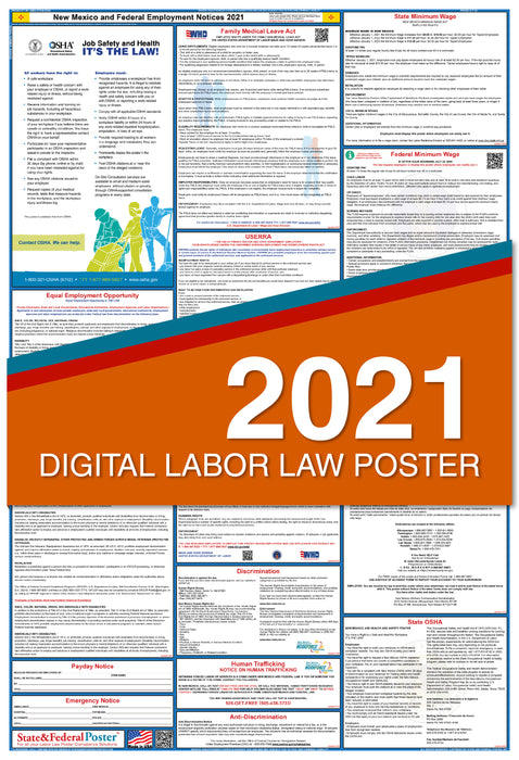 Digital New Mexico State and Federal Labor Law Poster 2021