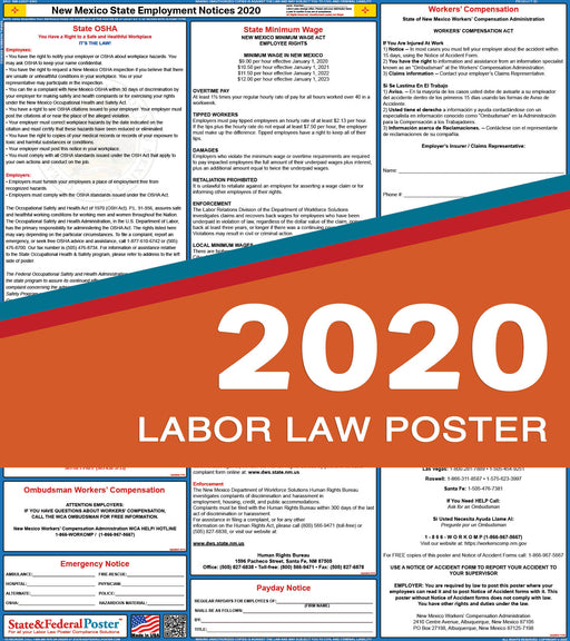 New Mexico State Labor Law Poster 2020 - State and Federal Poster