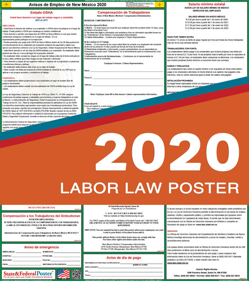 New Mexico State Labor Law Poster 2020 (SPANISH) - State and Federal Poster