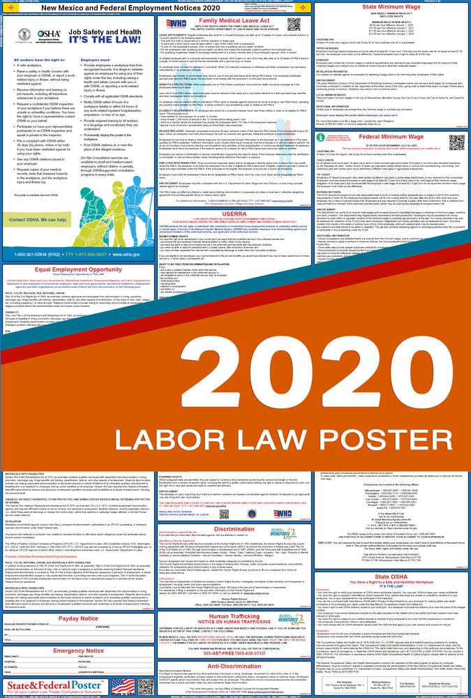New Mexico State and Federal Labor Law Poster 2020 - State and Federal Poster
