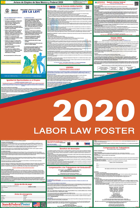 New Mexico State and Federal Labor Law Poster 2020 (SPANISH) - State and Federal Poster
