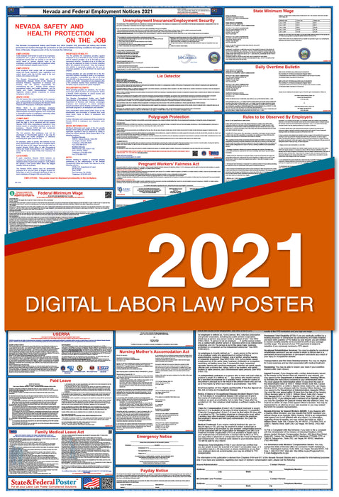 Digital Nevada State and Federal Labor Law Poster 2021