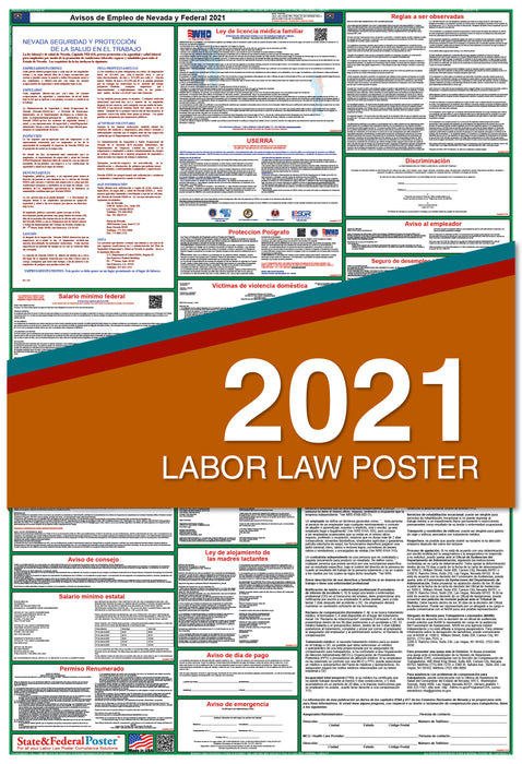 PREORDER - Nevada State and Federal Labor Law Poster 2021 (SPANISH)