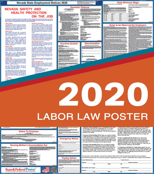 Nevada State Labor Law Poster 2020 - State and Federal Poster