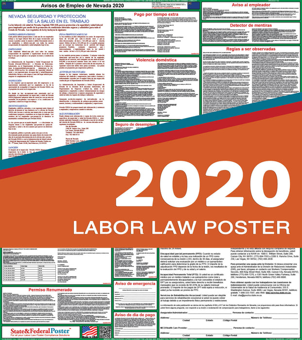 Nevada State Labor Law Poster 2020 (SPANISH) - State and Federal Poster