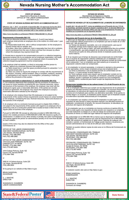 Nevada Nursing Mother's Accommodation Act Poster (Bilingual)