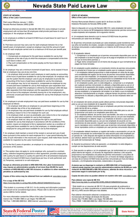 Nevada State Paid Leave Law Poster (Bilingual)