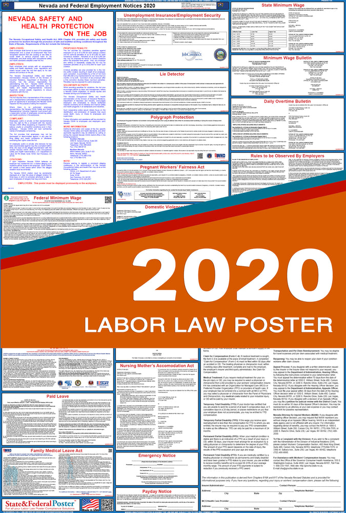 Nevada State and Federal Labor Law Poster 2020 - State and Federal Poster