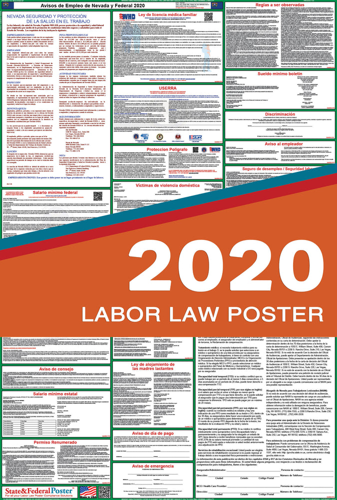 Nevada State and Federal Labor Law Poster 2020 (SPANISH) - State and Federal Poster