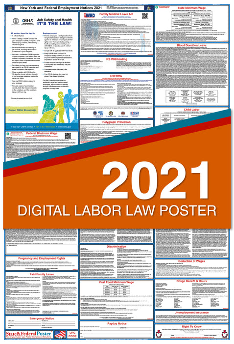 Digital New York State and Federal Labor Law Poster 2021